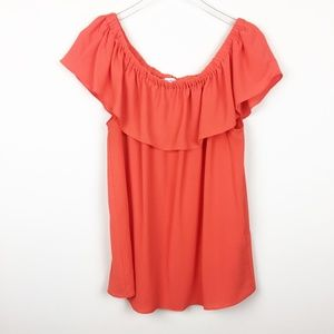 Rose + Olive | Clemson Orange Ruffle Top